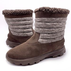 Skechers GOWalk Brown Suede Faux Fur Ankle Boots